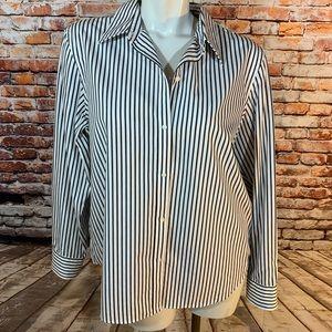 Chaps Black & White Striped Button Down Shirt